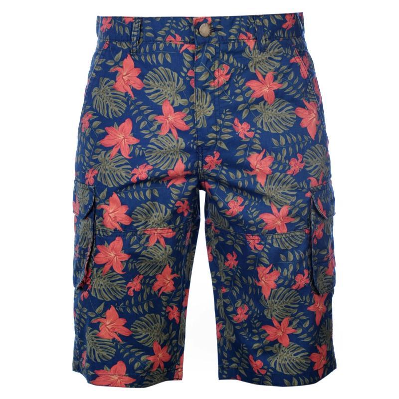 Kalhoty Pierre Cardin AOP Cargo Shorts Mens Navy Tropical