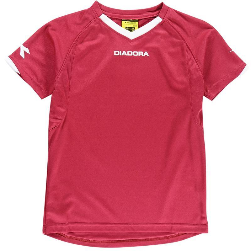 Diadora Havana T Shirt Junior Boys Bordeaux/White