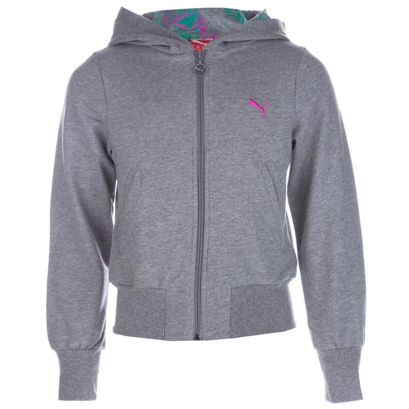 Puma Infant Girls Logo Zip Hoody Grey Marl