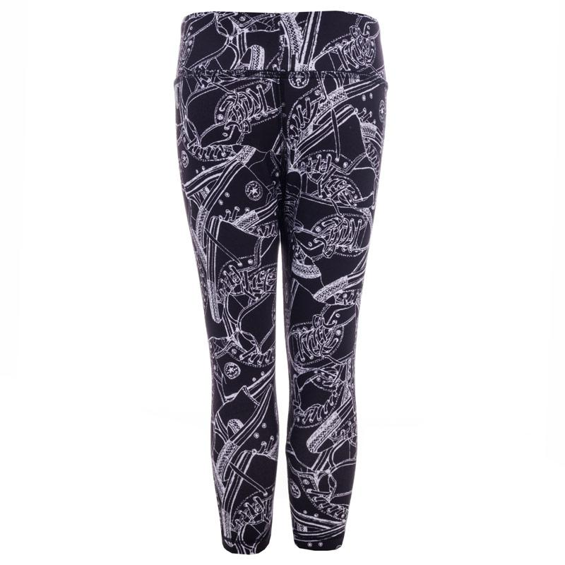 Converse Junior Girls Printed Capri Leggings Black
