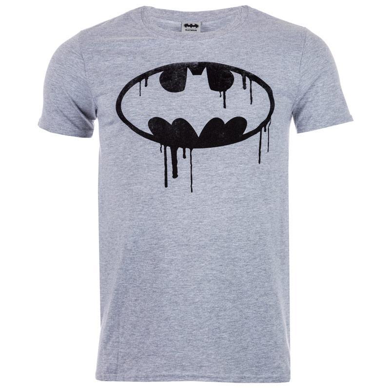 Tričko Get The Label Mens Batman Drip Logo T-Shirts Grey Marl