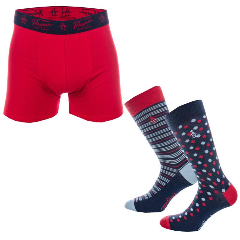 Ponožky Original Penguin Mens 2 Pack Socks & Boxer Short Gift Set Blue red