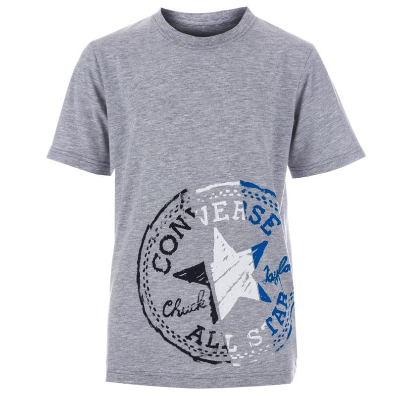 Tričko Converse Junior Boys Off Set Chuck Patch T-Shirt Grey Heather
