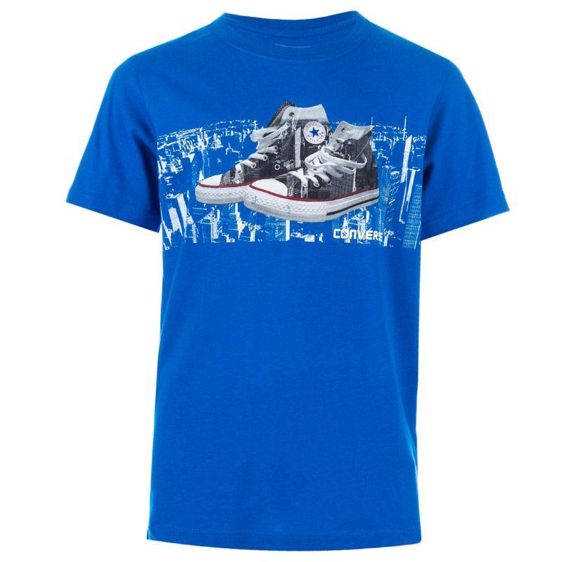 Tričko Converse Junior Boys Run This City T-Shirt Blue