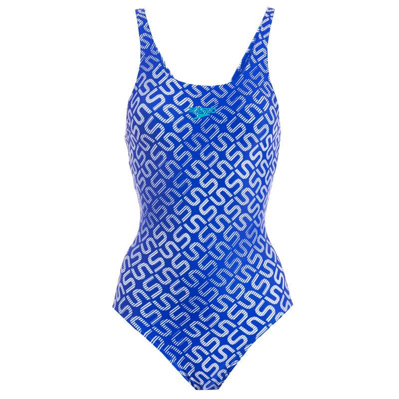Plavky Speedo Womens Allover Muscleback Swimsuit Blue-White
