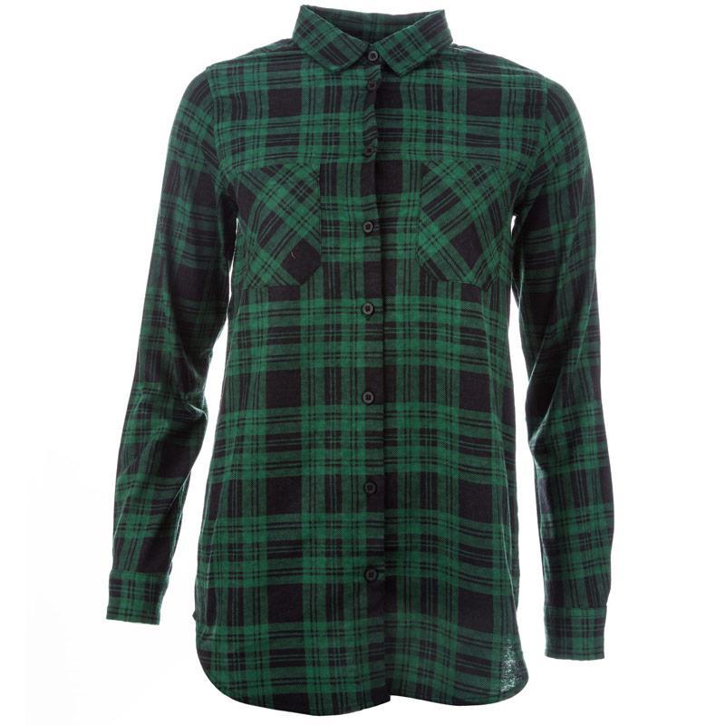 Brave Soul Womens Check Shirt Green black