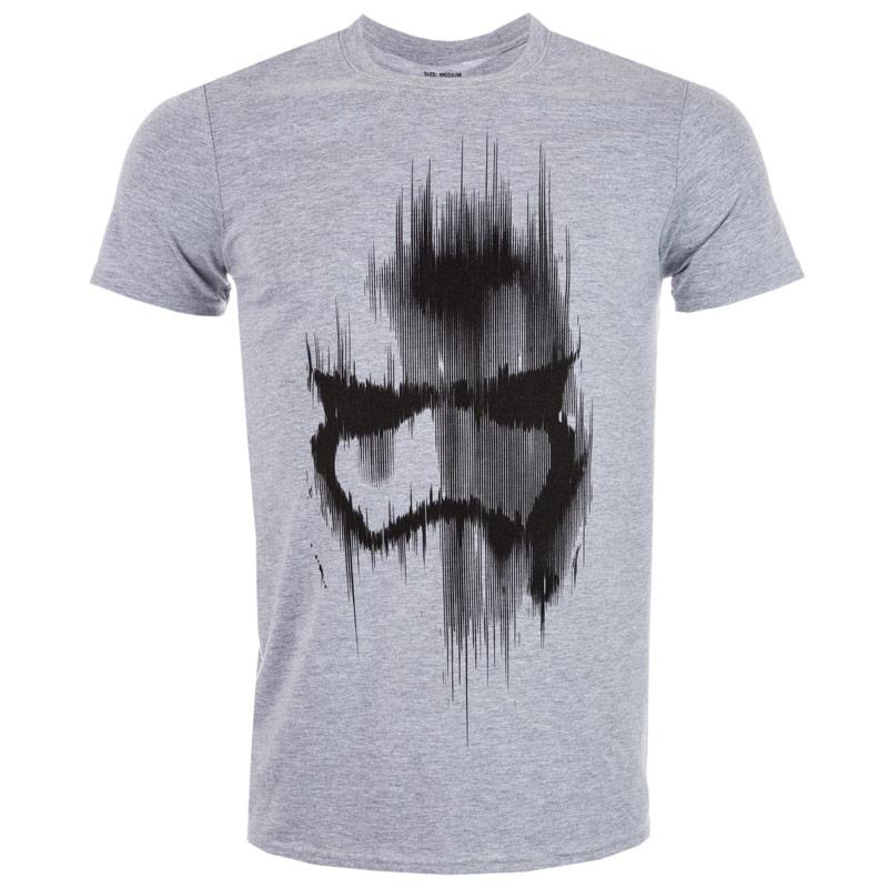 Tričko Get The Label Mens Trooper Mask T-Shirts Grey Marl
