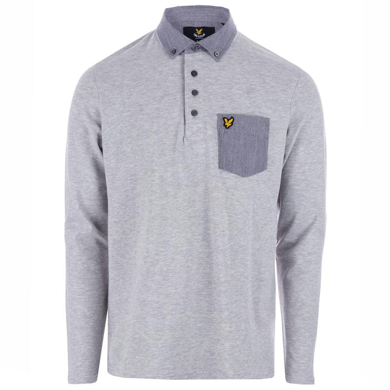 Lyle And Scott Mens LS Woven Collar Polo Shirt Light Grey