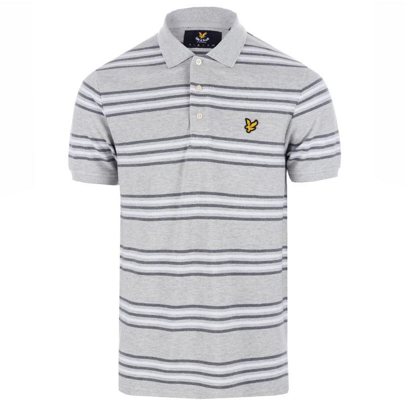 Lyle And Scott Mens Stripe Polo Shirt Light Grey
