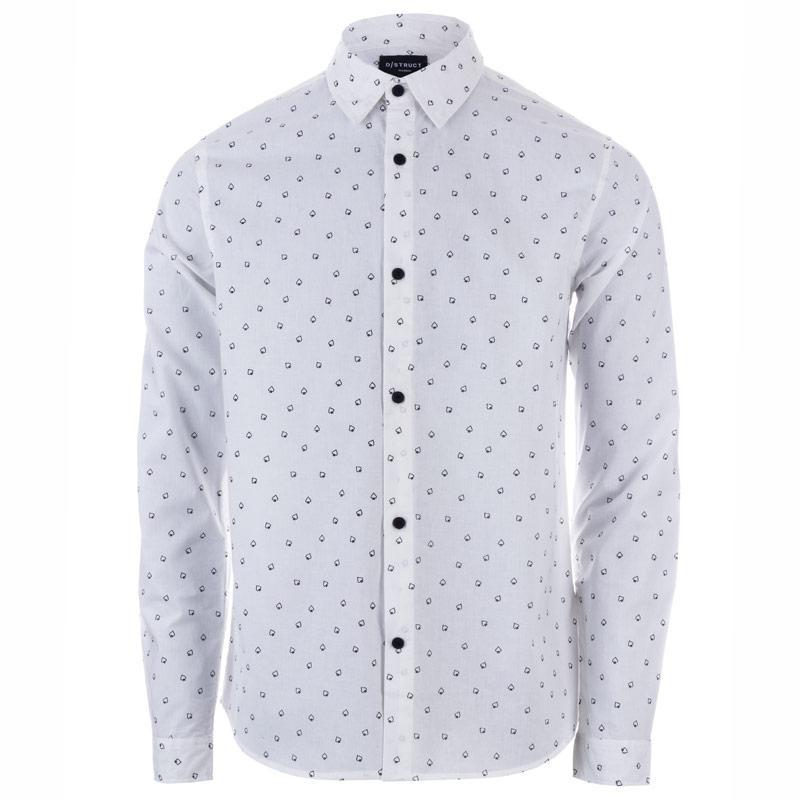 D-Struct Mens Valens Spade Print Shirt White