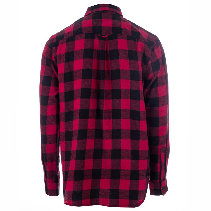 D-Struct Mens Buffalo Check Flannel Shirt Red