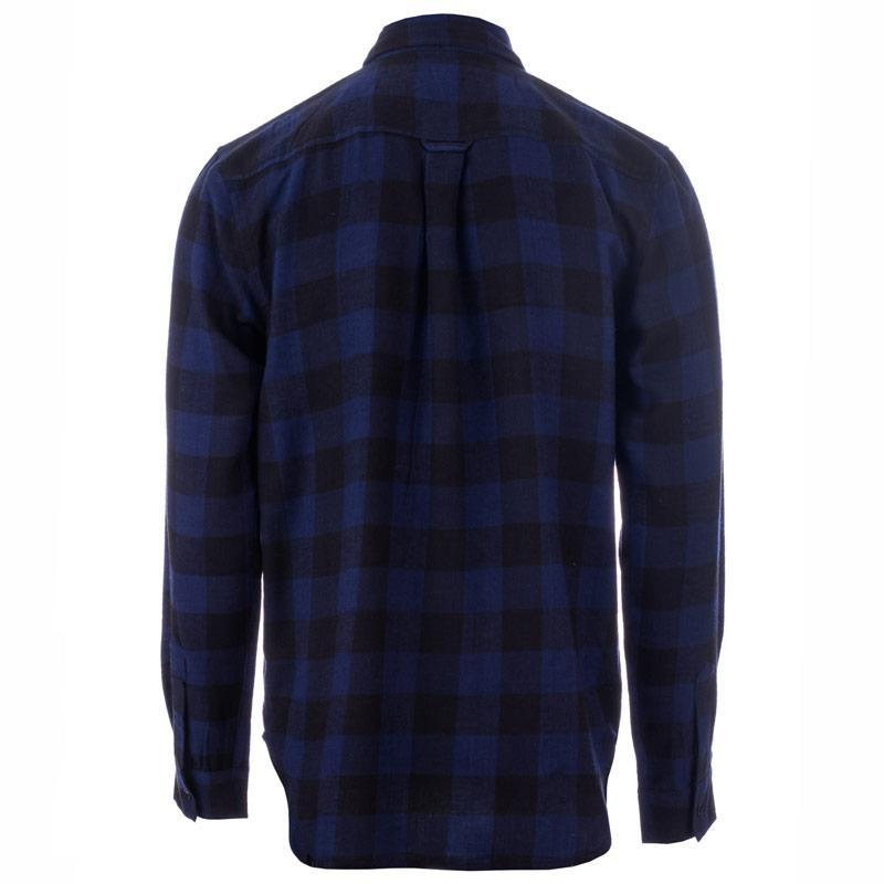 D-Struct Mens Buffalo Check Flannel Shirt Blue
