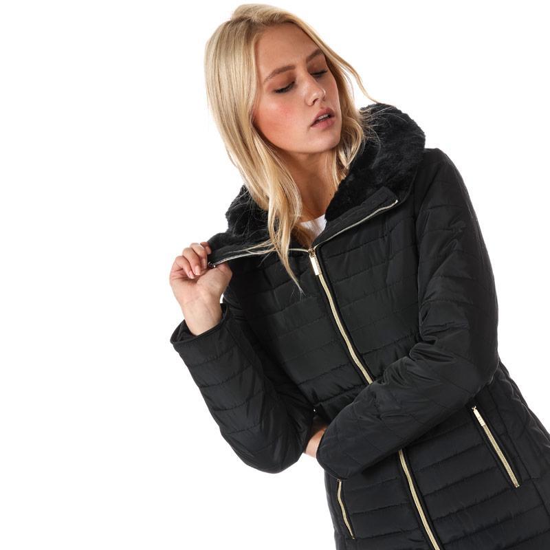 Elle Womens Florence Coat Black Velikost - 16 (XL)