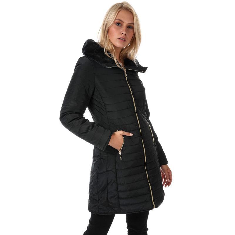 Elle Womens Florence Coat Black Velikost - 18 (XXL)