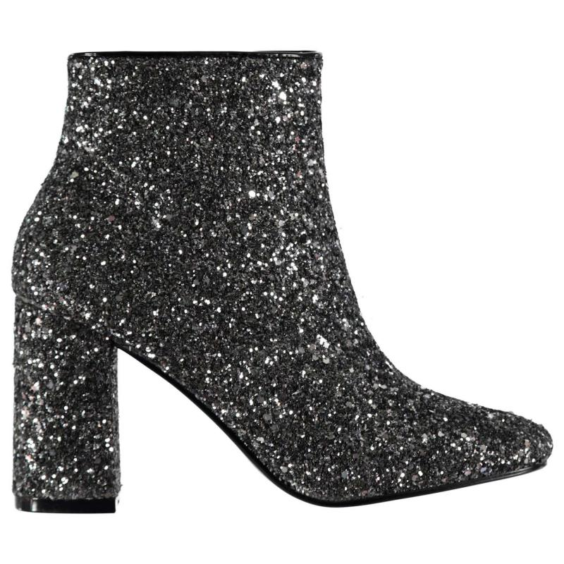 Glamorous All Over Glitter Boots Black/Silver