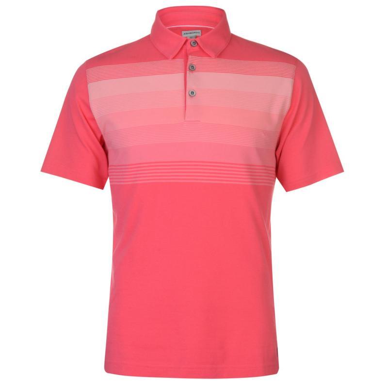Ashworth Striped Golf Polo Shirt Mens Pink