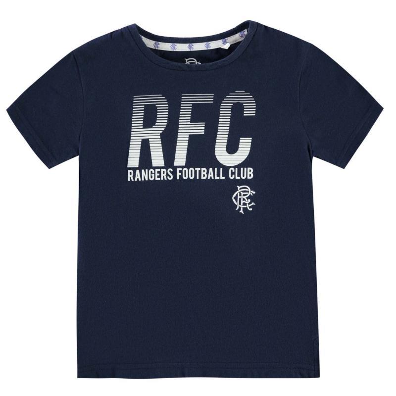 Team Rangers Lined T Shirt Junior Boys Navy