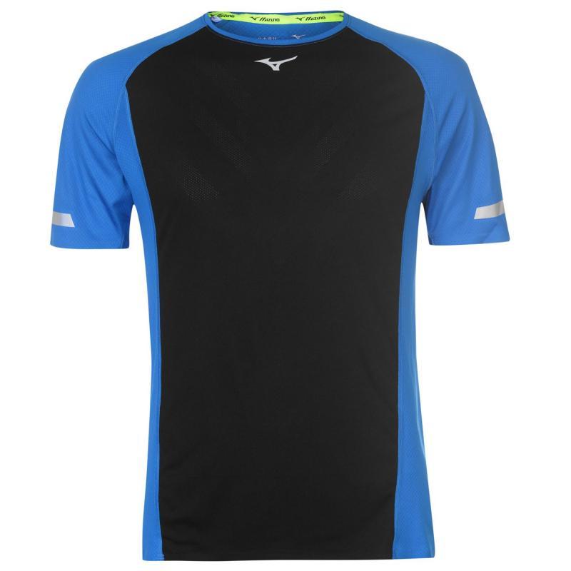 Tričko Mizuno Aero Running T Shirt Mens Black/Blue
