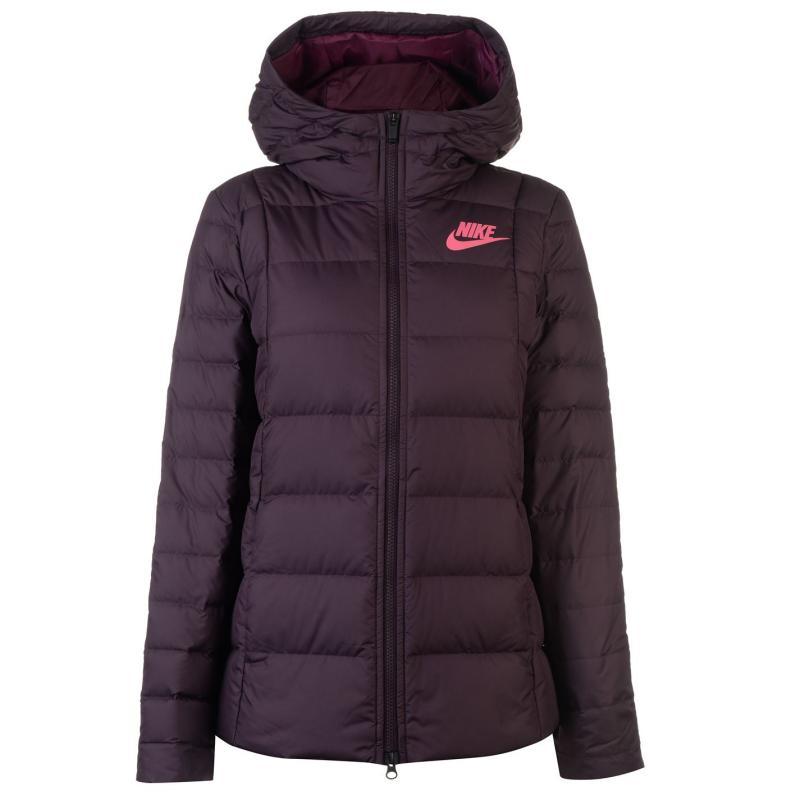 Nike Down Hooded Jacket Ladies Burgundy