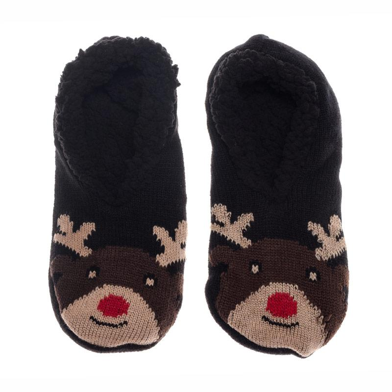 Brave Soul Womens Reindeer Slipper Socks Brown