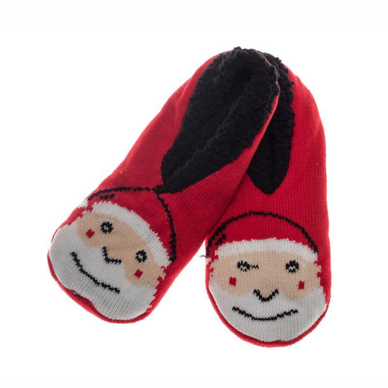 Brave Soul Womens Santa Slipper Socks Red