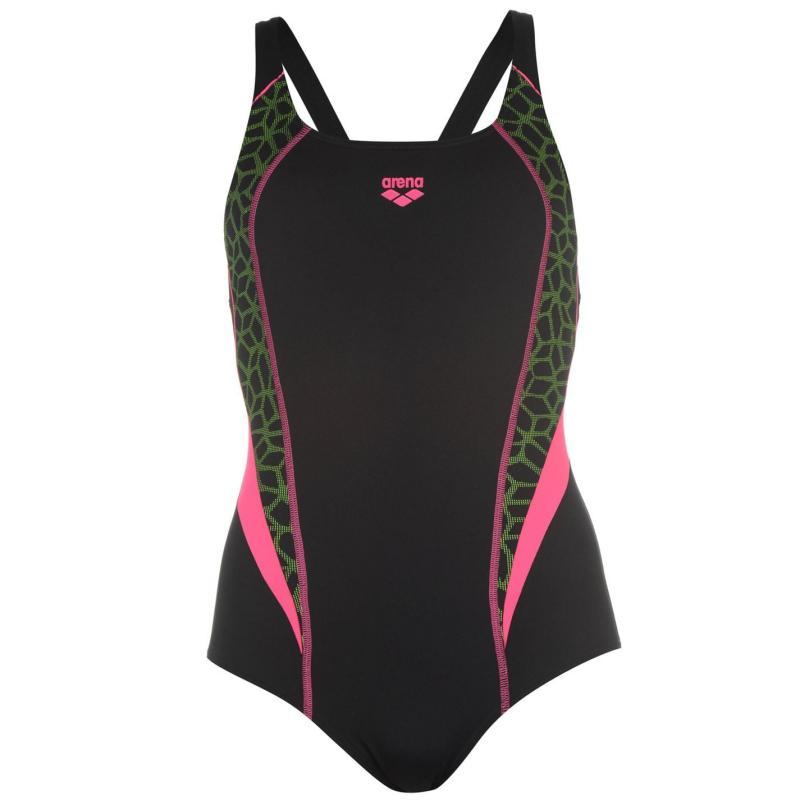 Plavky Arena Microcarbonite Swimsuit Ladies Black/Pink