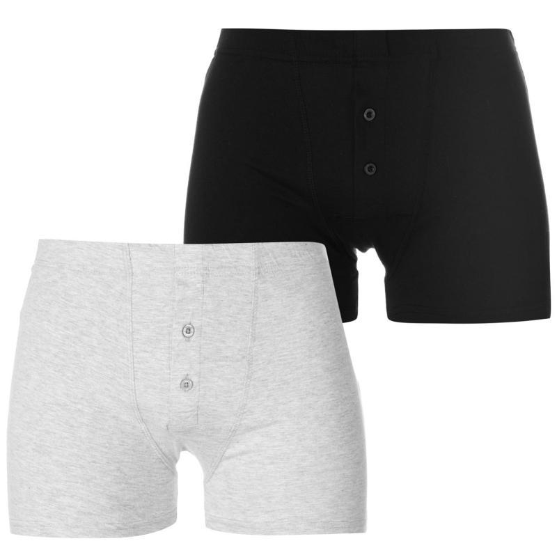 Spodní prádlo Slazenger 2 Pack Boxers Mens Black/Grey