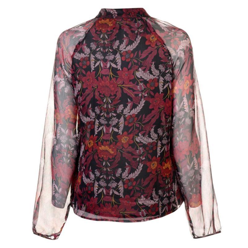 Košile Glamorous Long Sleeve Blouse Burgundy Floral