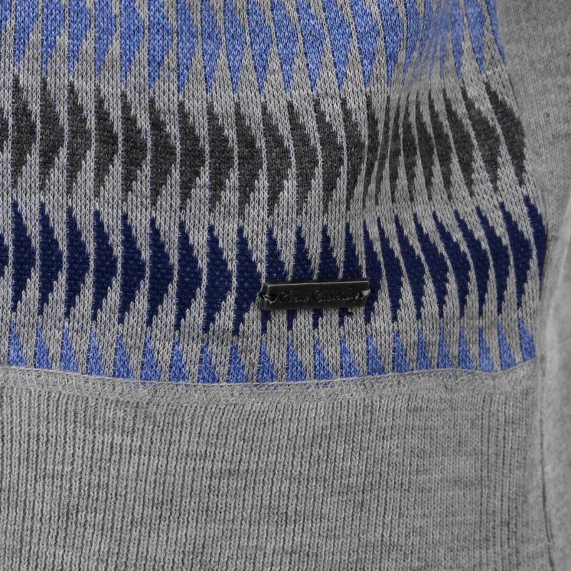 Pierre Cardin Geo Knit Jumper Mens Grey/Blue/Char