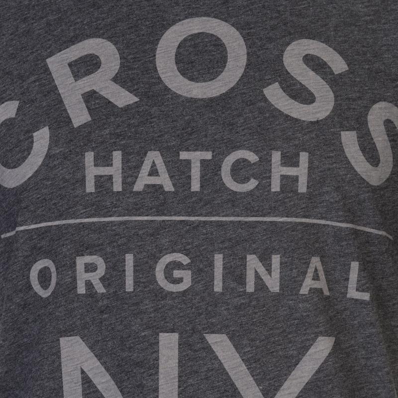 Tričko Crosshatch Larme T Shirt Mens Charcoal Marl