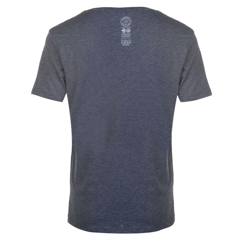 Tričko Crosshatch Larme T Shirt Mens Navy Marl