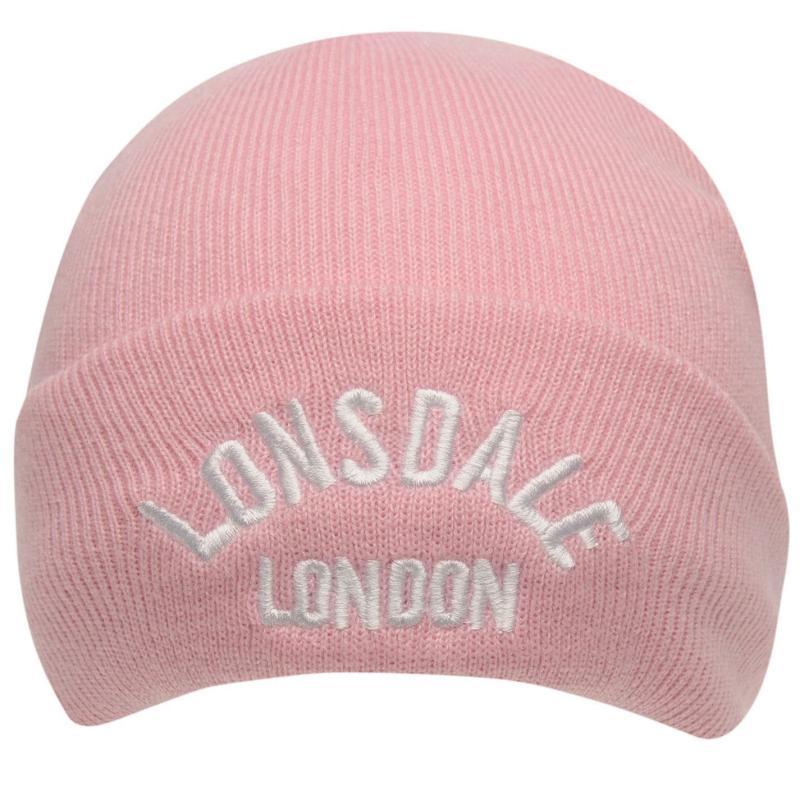 Lonsdale Logo Beanie Pink