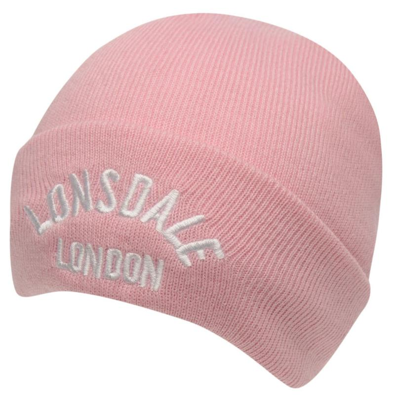 Lonsdale Logo Beanie Pink