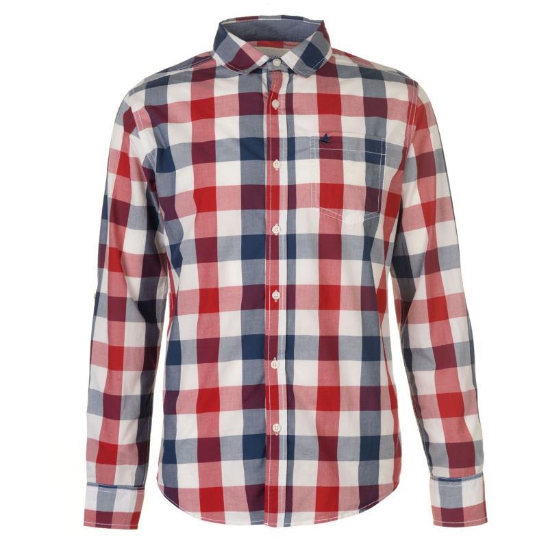 SoulCal Long Sleeve Check Shirt Mens Navy/Green/Wht