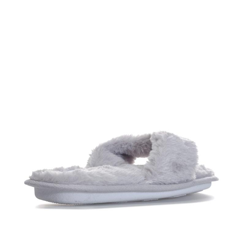 Brave Soul Womens Fluffy Faux Fur Slippers Grey
