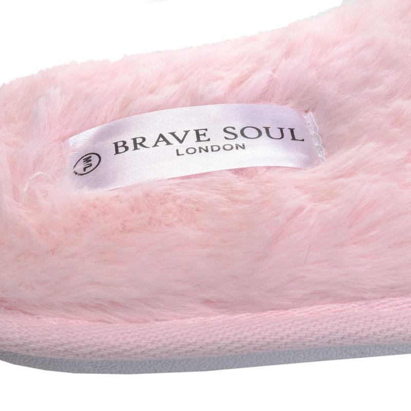 Brave Soul Womens Fluffy Faux Fur Slippers Pink