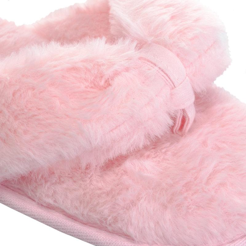 Brave Soul Womens Fluffy Faux Fur Slippers Lilac