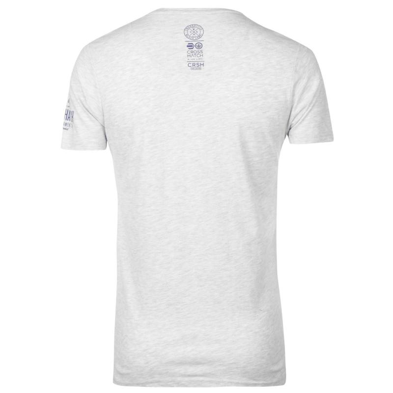 Tričko Crosshatch Seton T Shirt Mens Lt Grey Marl