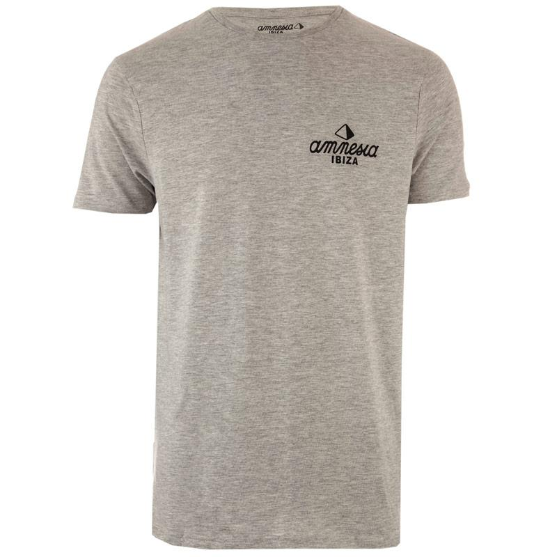 Tričko Get The Label Mens Amnesia Ibiza T-Shirt Grey Marl