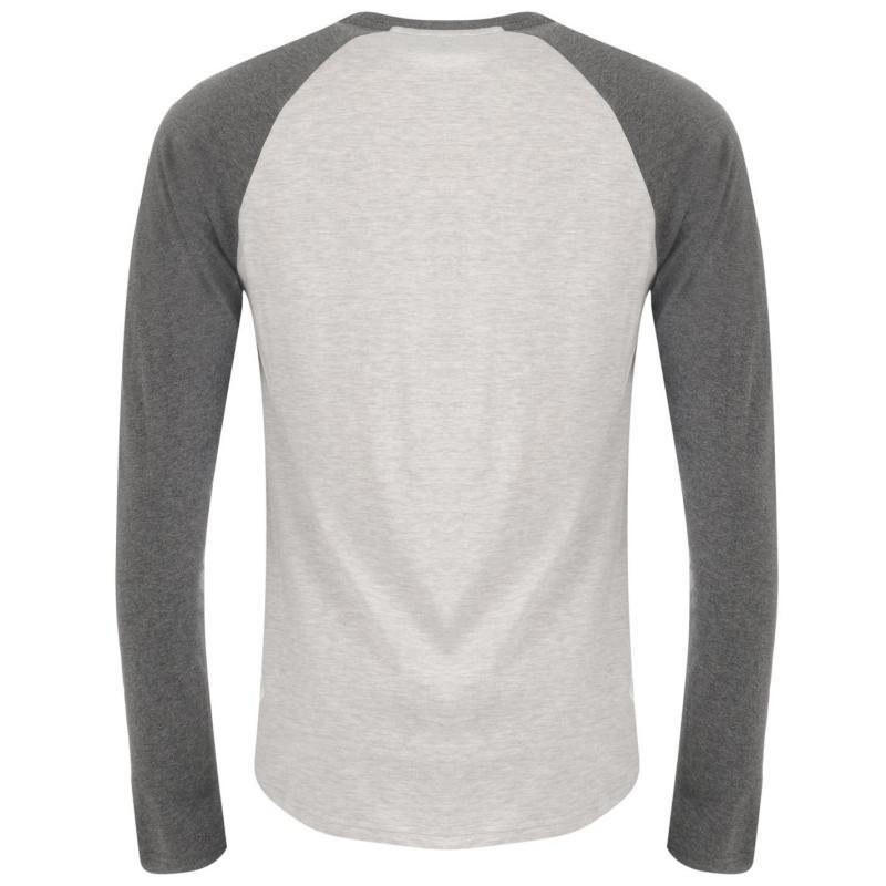 Tričko DC Raglan Long Sleeve T Shirt Mens Grey/Charcoal