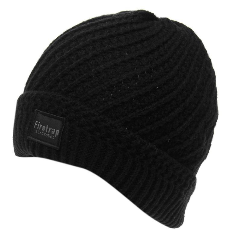 Firetrap Blackseal Knitted Hat Grey Marl