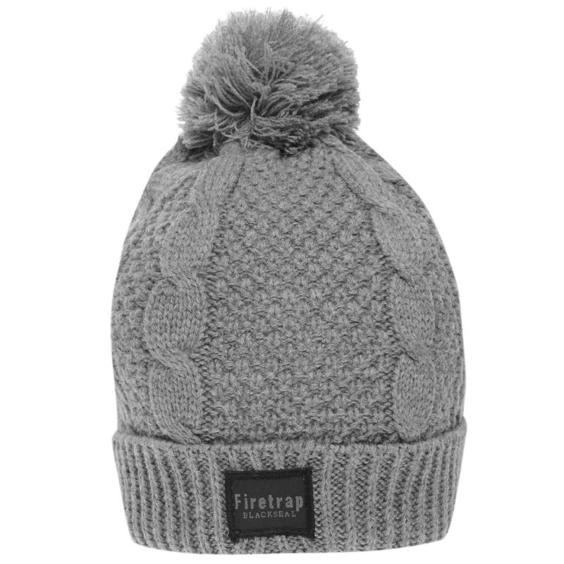 Firetrap Cable Hat Grey Marl