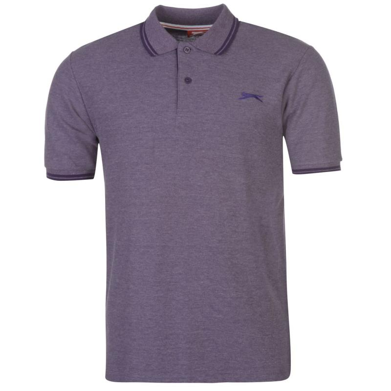 Slazenger Tipped Polo Shirt Mens Purple Marl
