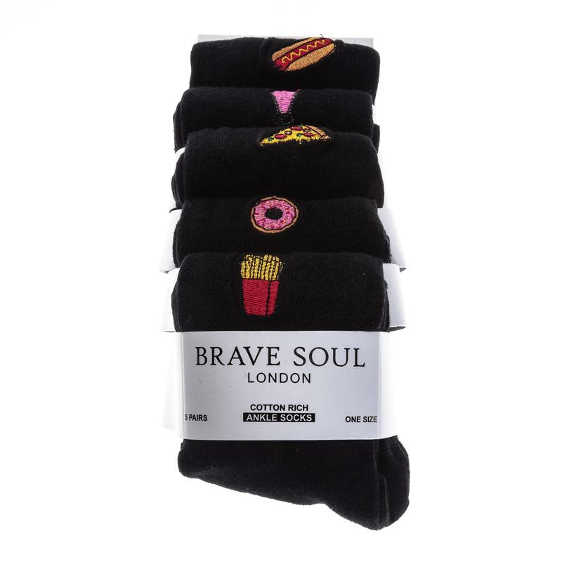 Ponožky Brave Soul Womens 5 Pack Fast Food Socks Black