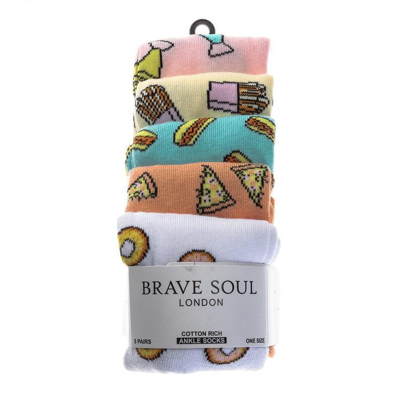 Ponožky Brave Soul Womens 5 Pack Fast Food Socks Multi colour