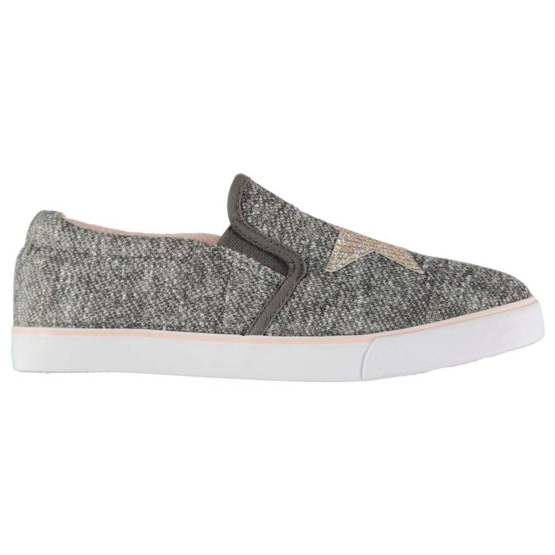 Crafted Star Slip On Shoes Child Girls Grey Pink
