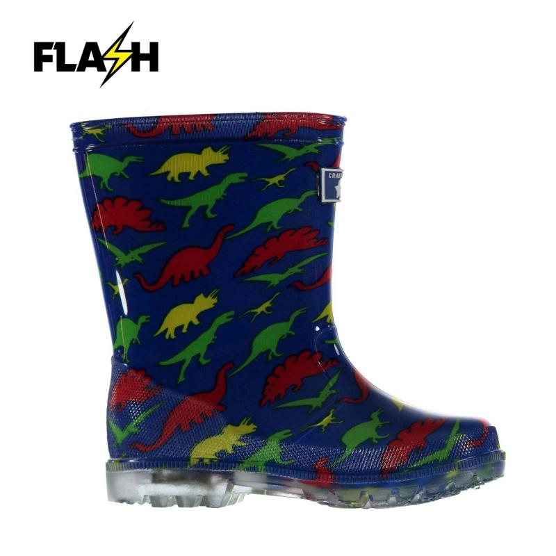 Crafted Light Up Wellies Infants Dino