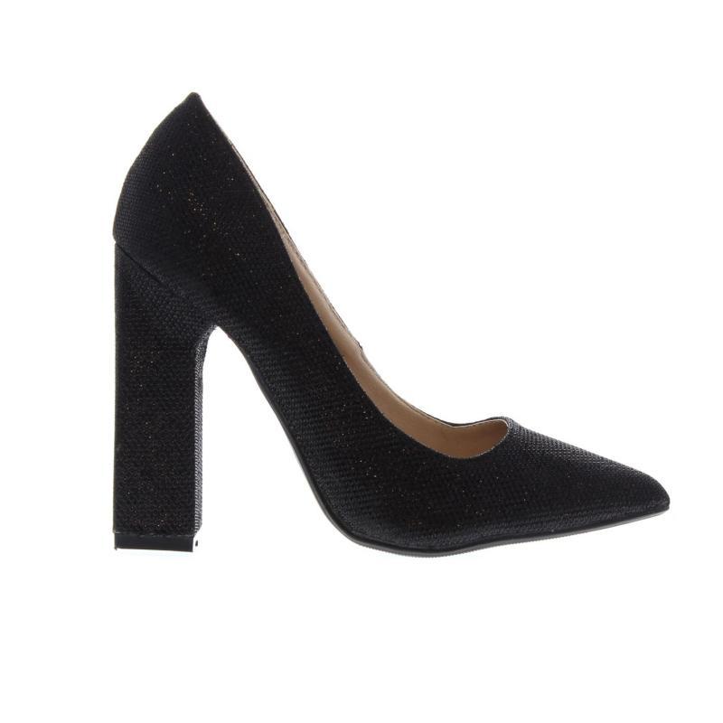 Full Circle Lurex Court Heels Ladies Black