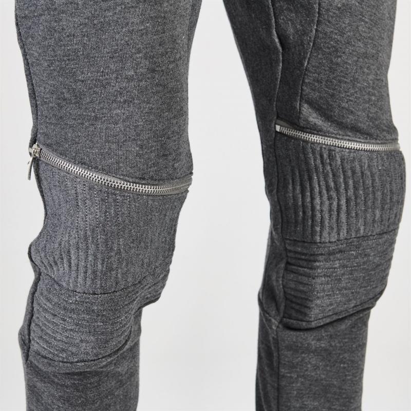Tepláky Fabric Zip Biker Jogging Bottoms Mens Charcoal Marl