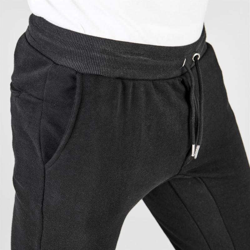 Tepláky Fabric Zip Biker Jogging Bottoms Mens Black